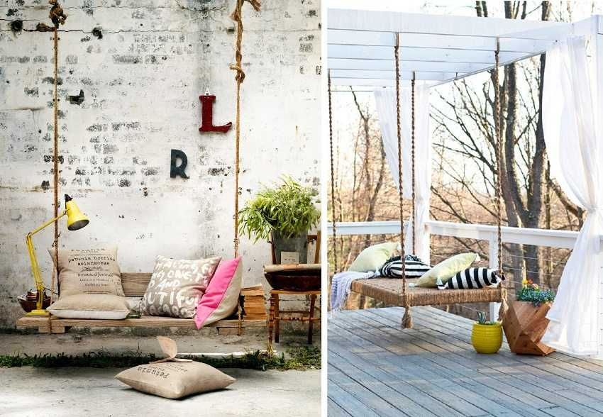 Готовые конструкции можно украшать подушками, пледами и другими декоративными элементами.