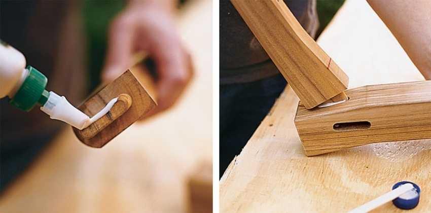 Деревянные качели-скамья, шаг 2: нанесение клея и скрепление деталей между собой.