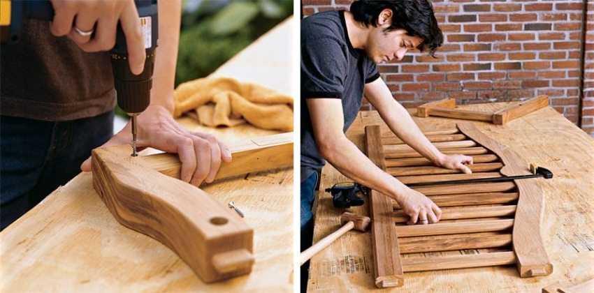 Деревянные качели-скамья, шаг 3: фиксация соединенных деталей саморезами.