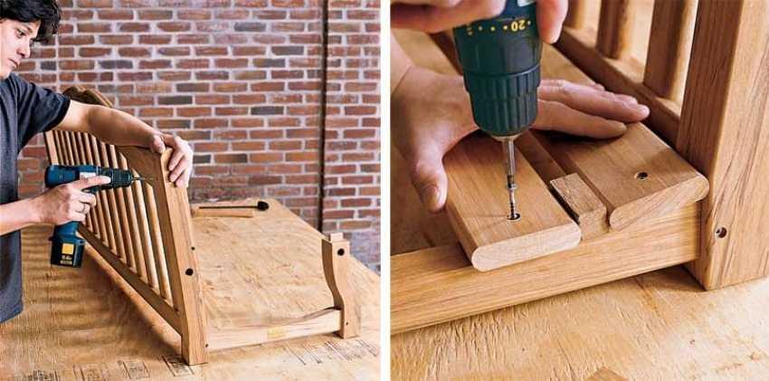 Деревянные качели-скамья, шаг 4: монтаж спинки и сиденья конструкции.