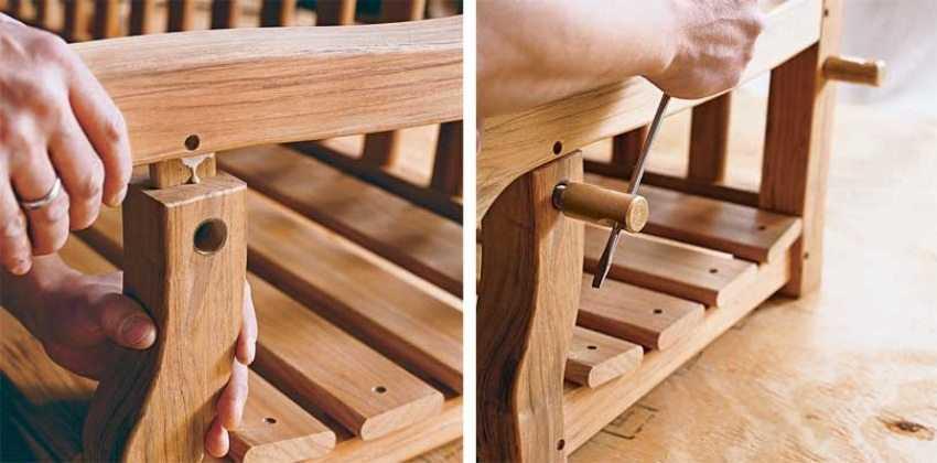 Деревянные качели-скамья, шаг 5: крепление подлокотников.