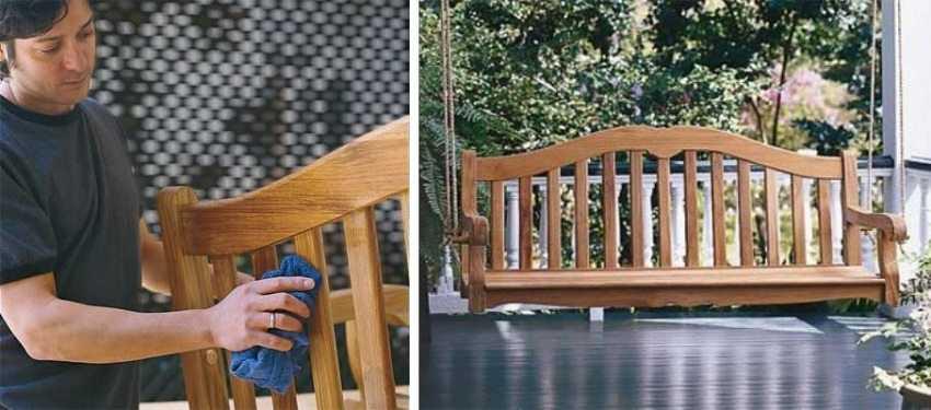 Деревянные качели-скамья, шаг 6: обработка изделия защитными составами.