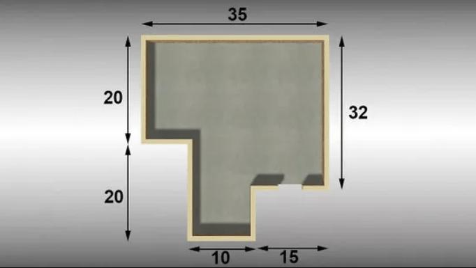 Разбейте сложную площадь на более мелкие простые формы.
