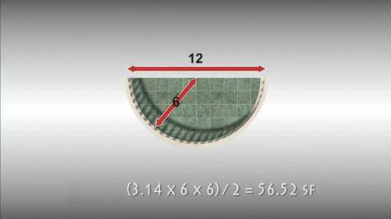 Найти площадь застройки полукруглой плоскости.