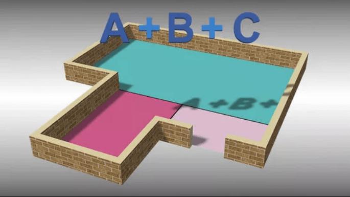 Сложите площади в квадратных метрах всех трех частей.